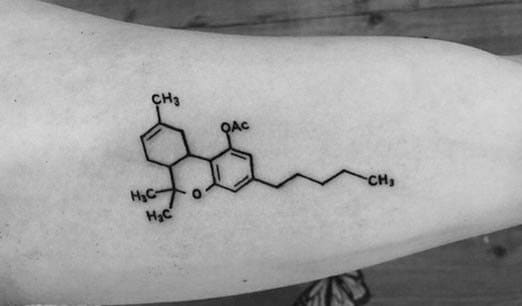 This THC molecule by Ben Ervin is a heck of a lot more subtle than having a pot leaf tattoo.