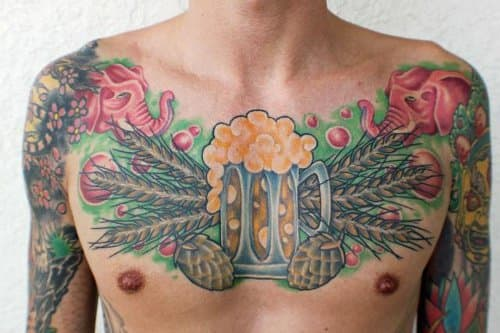 This detailed chest piece pays tribute to beer and its ingredients.