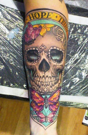 Beautiful work went into this illustrative sugar skull.