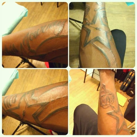 "Photo: Twitter.Switzer may be one of the newest additions to the NFL roster of bad tattoo bearers, but he isn't the only Cowboys player making questionable tattoo choices. In 2015, Cowboys defensive end Randy Gregory got a massive tattoo of the Cowboys logo on his arm, accompanied by a cross and the word ""Journey."""