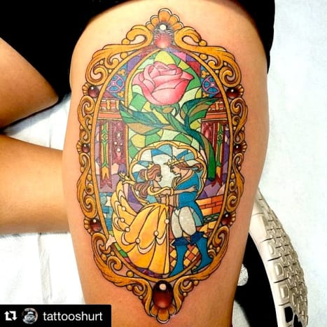 Beauty and the Beast make for a magical tattoo. Done by Keith Feitelson.