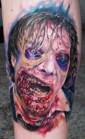 Realistic and graphic zombie portrait