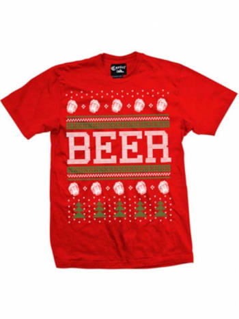 Spread wishes of beer and Christmas cheer with this men's tee, also available in black. Don't worry ladies, there are women's tees in both colors as well!