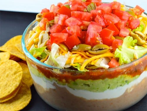 7 Layer Dip Serve up the Tex Mex classic with those salty, crunchy tortilla chips. No double dipping!