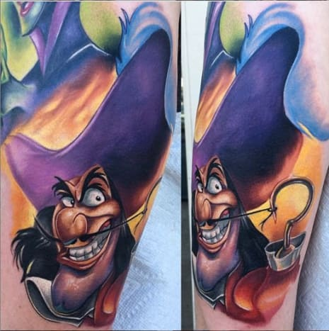 Captain Hook may have been a baddie, but he sure had style. Tattoo by Audie Fulfer Jr.