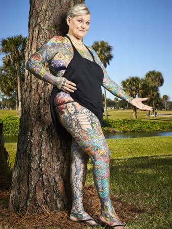 Charlotte Guttenberg is the most tattooed female senior citizen in the world. Photo: Guinness World Record