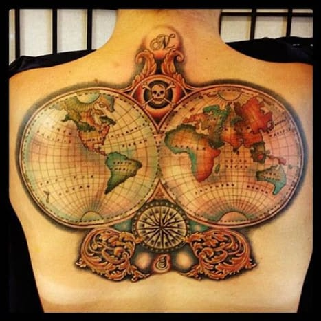 This map of the world that may lead to a buried pirate treasure was tattooed by Annie Lloyd.