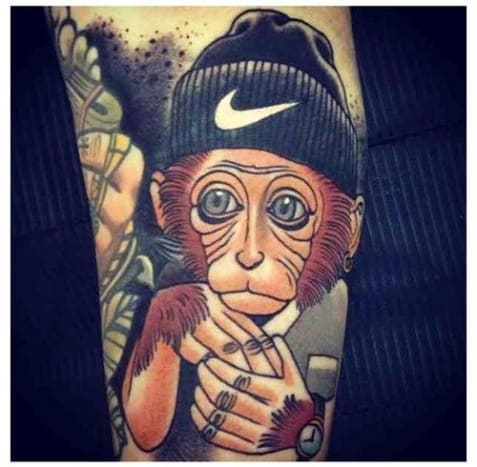 "Adrian Edekbrings the ""ooo's"" and ""ahh's"" with this striking chimp tattoo."