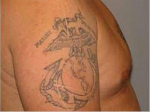 The Eagle, Globe and Anchor was adopted as the official emblem of the United States Marine Corps in 1955. This is a photo of Matt's tattoo. The Marines have no record of Matt ever serving.