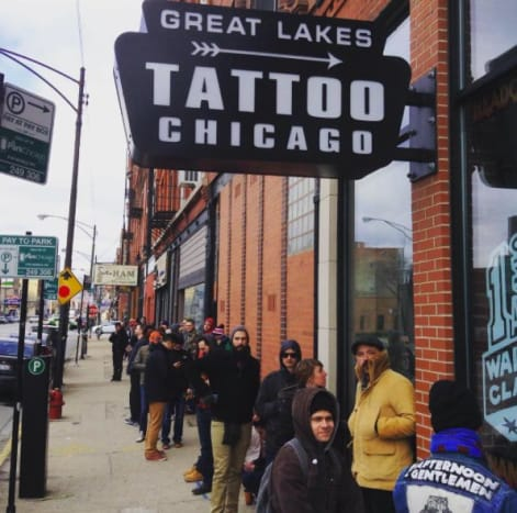 """Photo: Great Lakes TattooFrom11 a.m. to 7 p.m. on Saturday, March 18, and Sunday March 19, folks wanting to get tattooed will be able to walk into Great Lakes Tattoo—located at 1148 W. Grand Ave. Chicago, IL 60642—and select designs, which will be tattooed on them on the same day by some of the sickest ink slingers across the nation.Some of the artists who will be participating include Mike Rubendall, Dan Smith, Brad Fink, Beau Brady, Chip Douglas, Nikki Lugo, Robert Ryan, as well as GLT's own Nick Colella, Mike Dalton, Mario Desa, Erik Gillespie, Kevin Leary, Mile Maniaci, Matt """"Beatdown"""" Ziolko and many more talented artists."""