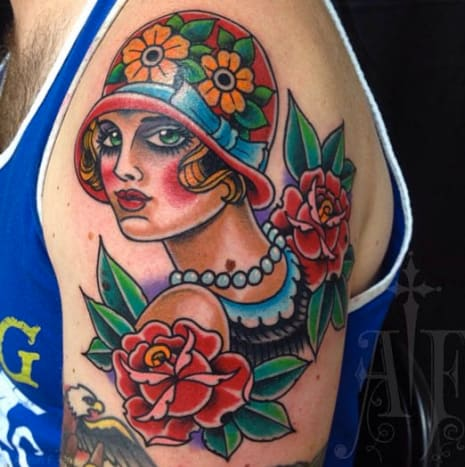 Flappers, as shown in this tattoo by Aaron Francione, may have existed primarily during the twenties, but their imagery has proven to stay cool from era to era.