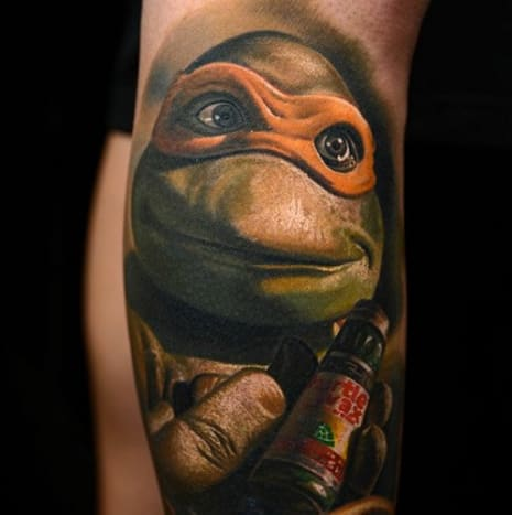 The great Nikko Hurtado tattooed this portrait of known party lover Michelangelo.