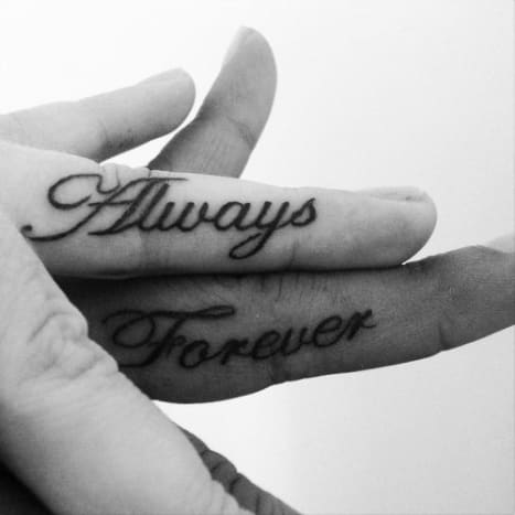 "These two got sweet ""always"" and ""forever"" tattoos."