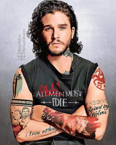 There's a not overly subtle suggestion about Jon Snow's true parentage in his ink... can you find it?