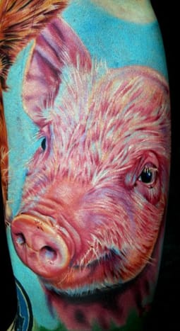 This pig was tattooed by Cecil Porter.