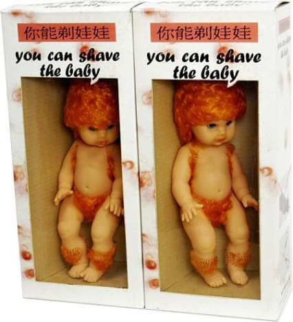 """Photo via pinterestEverything about this """"toy"""" is bizarre. Why would anyone want to shave a baby? Why would anyone want their child to shave a baby as a form of playtime? Why would a baby have so much hair in the first place? And why did they choose for the bay to have ginger colored hair?"""
