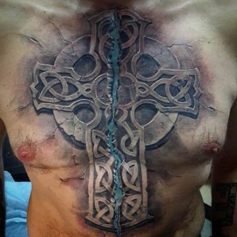 Pavel Stepanov used a Celtic Cross to cover up scars left over from cardiac surgery.