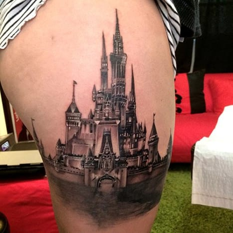 This beautiful Cinderella's castle was inked by Elvin Yong.