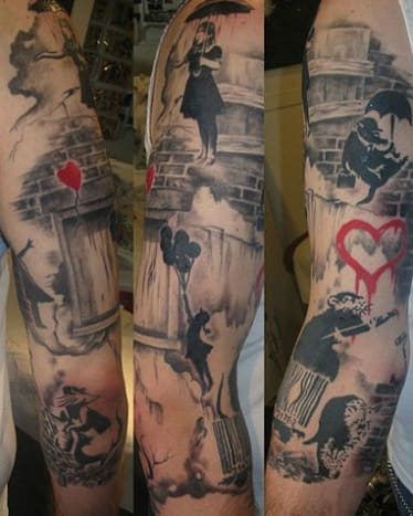 How cool is this Banksy-inspired sleeve?