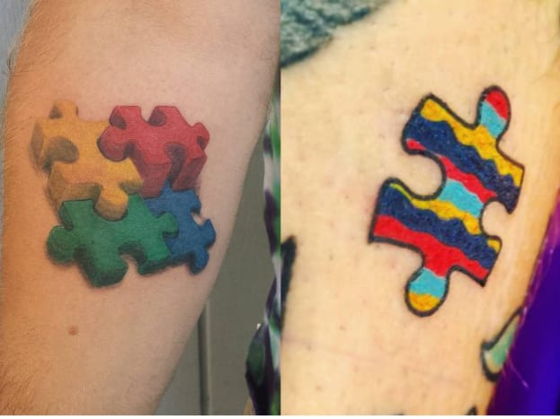 Photo via pinterestAs an act of unity with the autism awareness community many people get the single puzzle piece or the multiple jigsaw pieces. What many don't know is that the National Autistic Society changed the logo in 2002 due to ever increasing complaints ranging from the puzzle piece looks childish to the puzzle implies that autistic people need to be fixed.