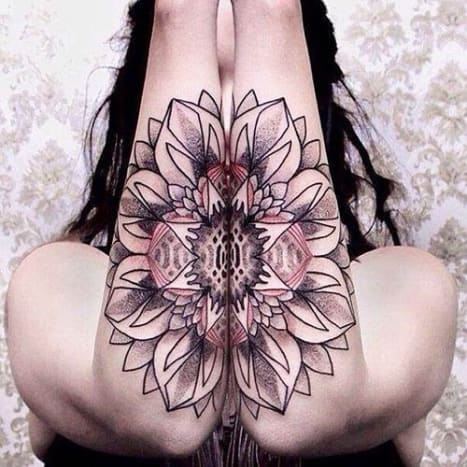 This incredibly intricate piece was tattooed by the illustrious Chaim Machlev, also known as DotsToLines.