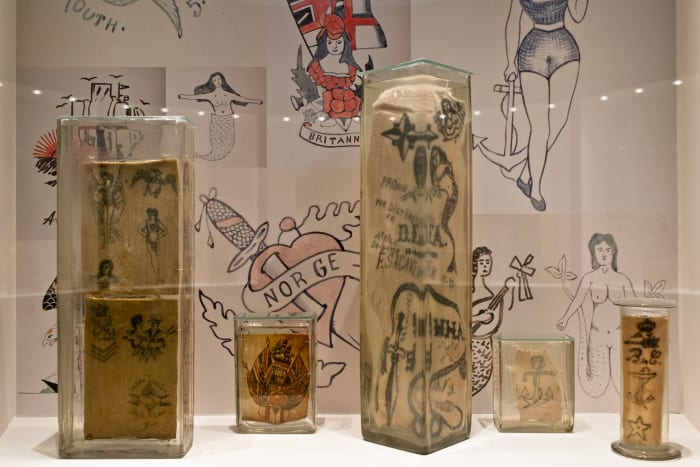 Photo: MUDE/Facebook.The collection of skins put on display at MUDE was gathered by Portugal's National Institute of Legal Medicine and Forensic Sciences. The tiny canvases each come with profiles of the persons who once upon a time wore these tattoos.