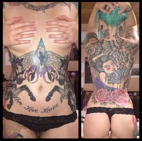 Cassidy Campbell has sick ink on both sides of her body.
