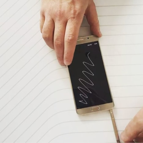 The S Pen Not only can you doodle, jot, and journal on the Galaxy Note 5 when it is turned off,but you can literally sign and save PDF documents directly on your phablet. The stylus also has a button that provides instant access to apps.