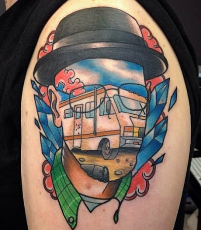When we stare at this Walter White tattoo we feel like we may have been sampling Heisenberg's wares.