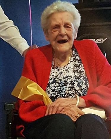 """Image via Kennedy News and Media Jean Astley enjoyed her 90-year-old birthday like she was 21 again. With a big surprise, she could not have imagined.  """"My nan wasn't expecting it at all. You could see the shock in her face, Goulty told Mirror UK. """"She may be 90 but she's still young at heart. For a 90-year-old she's got a very good sense of humor, and she swears like a trooper."""""""