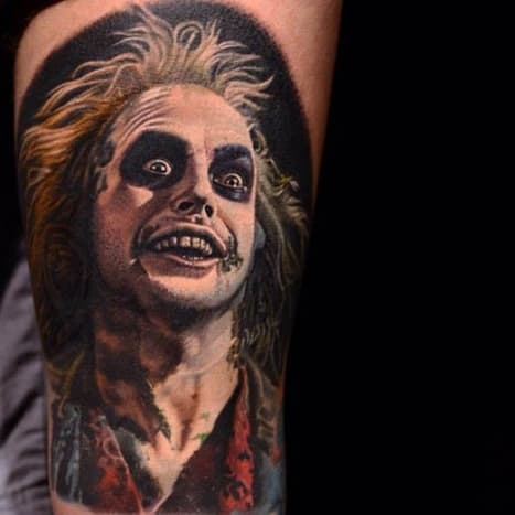 If you say his name three times this Beetlejuice tattoo will magically appear.