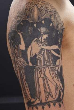 Greek pottery featuring art like this can sell for thousands. This tattoo looks like it's well worth what the subject paid for it.