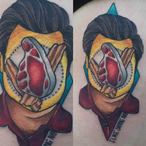 Jay Joree tattooed this surreal portrait of American hero Ron Swanson.
