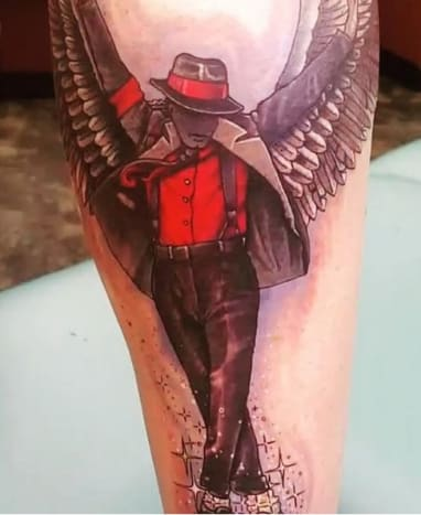 Photo: Instagram.The new tribute tattoo is inked on Prince Jackson's right calf, and shows a winged Michael Jackson wearing a red shirt, black pants, his sequined glove, and a black and red jacket and hat.