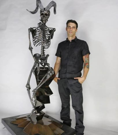 """A 7-foot-tall sculpture called """"Pseudologia Fantastica"""" which alludes to themes of human nature mentioned in mythology."""