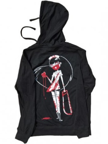 You know what it's like to have a man's heart in the palm of your hand, don't you? So does the sexy nurse on this awesome hoodie by Akumu Ink.