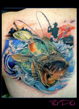 Anyone up for a little bass fishing? (Tattoo by Todo)