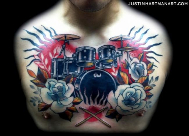 Drum set chest piece by Justin Hartman.