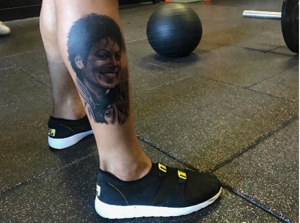 """Photo: Instagram.Done by Spain-based artist, Joaquín Ganga, OBJ's MJ tribute tattoo is inked on the outside of his right calf, and shows the King of Pop in his iconic """"Thriller"""" jacket, an impressive likeness of the late singer. The pro ballershared a picture of his new Michael Jackson tattoo on Instagramon April 11, hinting at a more personal meaning behind the ink with the same caption he applies to every new tattoo he gets, """"Tatted on me but tht ishh is deeper than the surface…"""""""