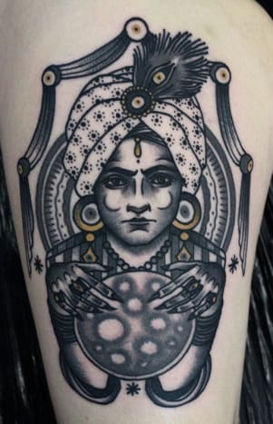 Fierce! Wonder what her crystal ball has to say about tattoos? Tattoo by Ivan Hess
