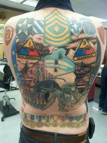 Army back piece by Mark Nattress.