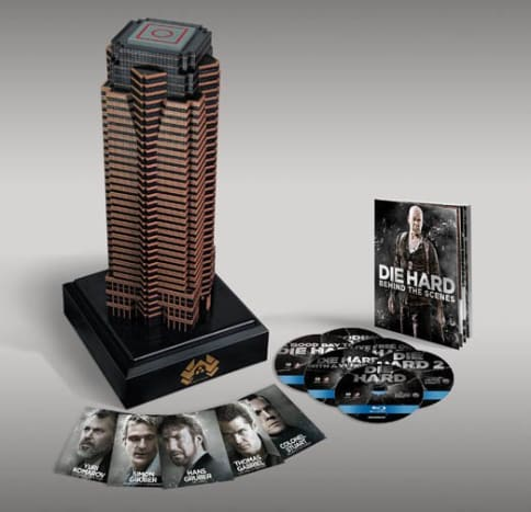 NAKATOMI PLAZA DIE HARD COLLECTION Yippee-Ki-Yay, mother fuckers. All 5 Die Hard films are contained in this sweet replica of the iconic Los Angeles Tower seen in the first film. You also get 5 collectible villains cards exclusive to this limited edition set as well as a 32-page behind the scenes booklet.
