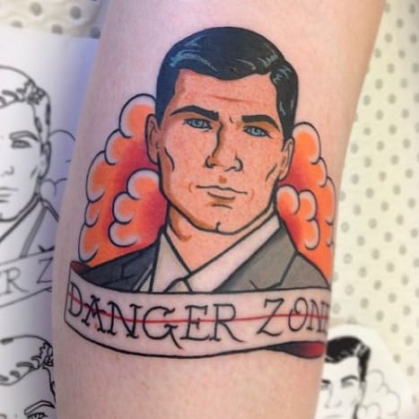 This awesome tattoo features the continuing joke Archer uses to torment poor Lana.