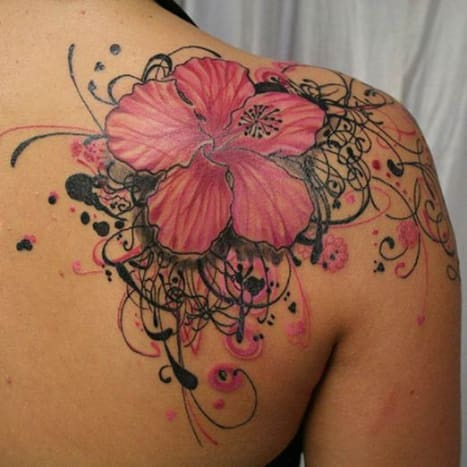 Everything about this tattoo is gorgeous. The flower, the accoutrement... everything.