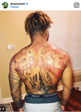 LSU Star Running Back Derrius Guice Showing Off His Savage Tattoo