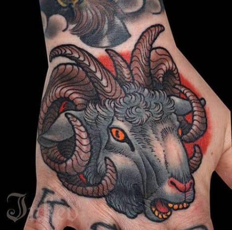 Happy New Year! It's now the year of the ram. Or the sheep. Maybe the goat. This year can be referred to by all three animals. In celebration, enjoy this amazing tattoo by Peter Lagergren.