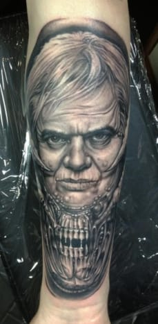 This portrait of surrealist H.R. Giger was done by Bob Tyrrell.