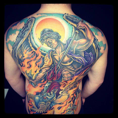 Angel Demon Battle Back Piece by Champion Grubs