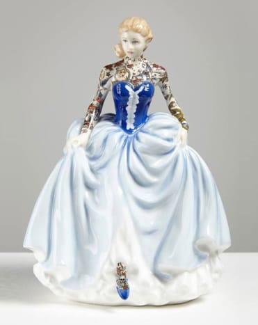 Front view of one of Harrison's porcelain figurines.