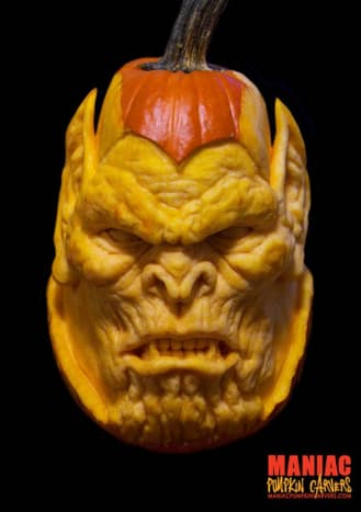This gruesome beast was created by Maniac Pumpkin Carvers.